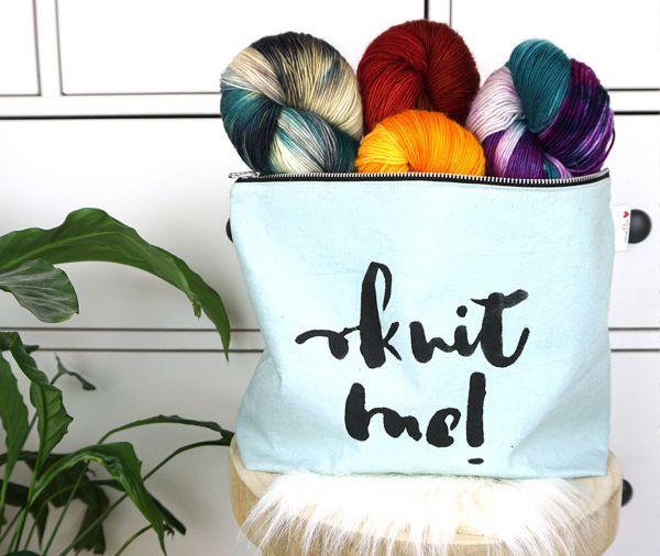 """Projekttasche """"knit me!"""" mit Innenfach"""